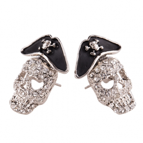 Outstanding Brincos Hip Hop Boho Punk Silver Plated Skull Earrings Stud Women Fashion Jewelry Accessories BPAN